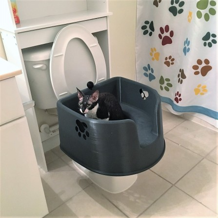 Kitty LitterBowl on Toilet